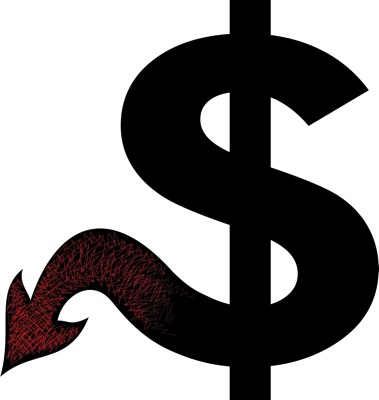 Worried about a recession next year? Image of dollar sign with a devil's tail