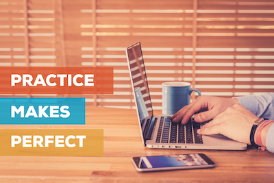 In digital marketing, perfect practice makes perfect: Marketer using laptop and mobile